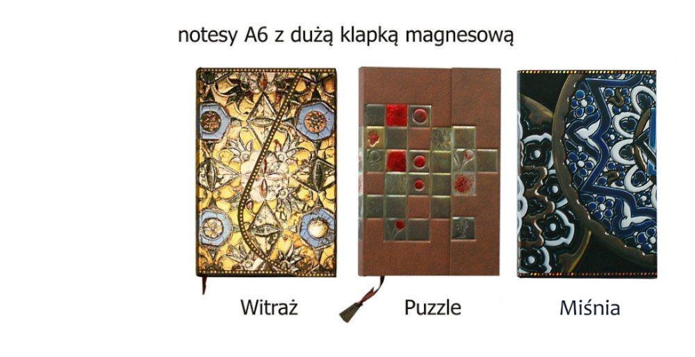 notesy A6 okładki metalizowane i magnes